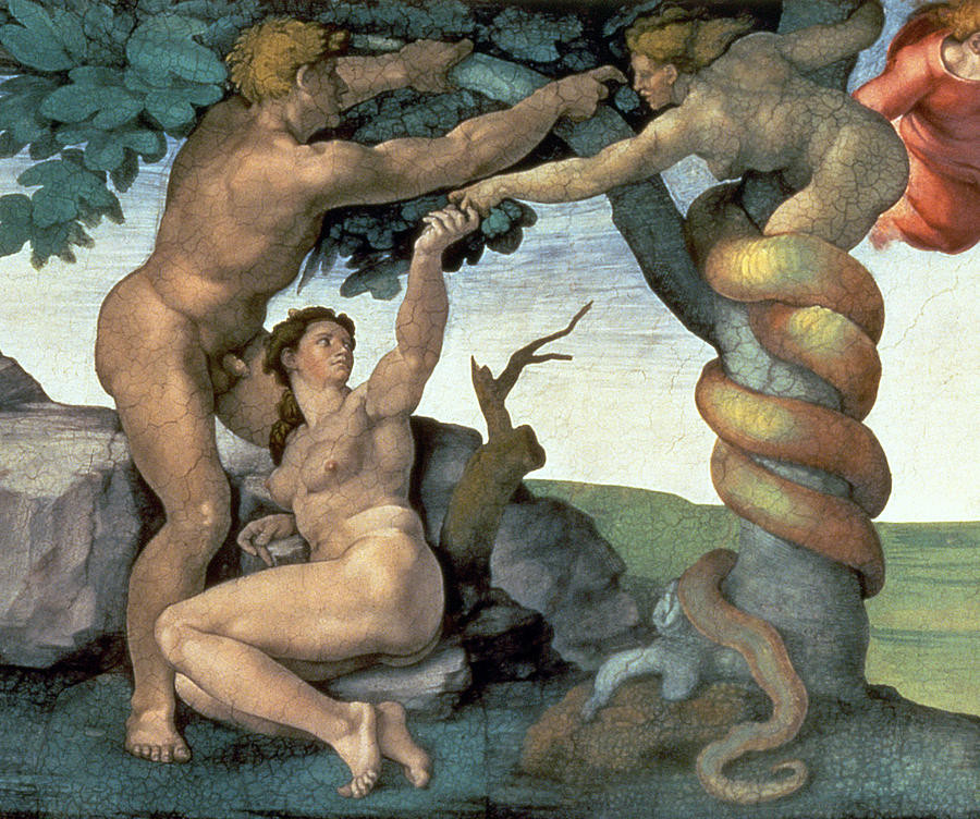 In this image from the Sistine Chapel, note the deceiver is decidedly not to be construed as an ordinary snake.