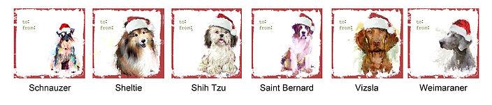 Schnauzer, Sheltie, Shih Tzu, Saint Bernard, Vizsla and Weimaraner holiday gift tags