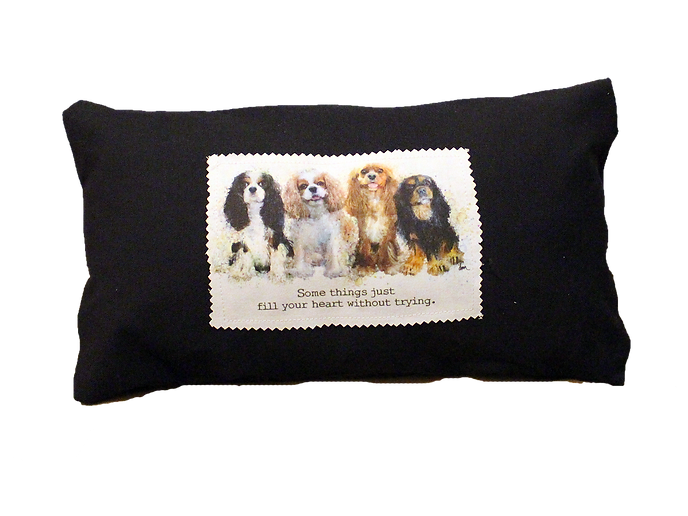 Tri, Blenheim, Ruby and Black & Tan Cavalier canvas 8 x 16  pillow