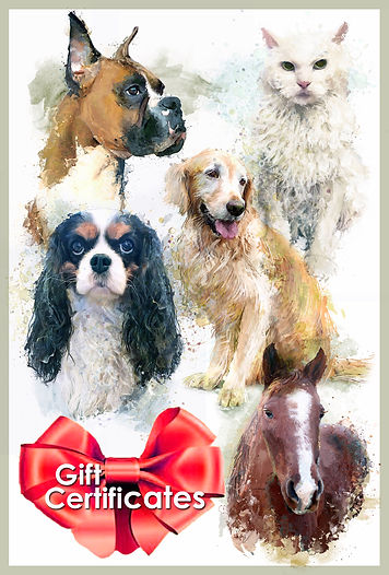 Gift Certificates, dogs, cats, pets, art