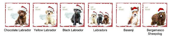 Labrador Retriever, Basenji and Sheepdog gift tags