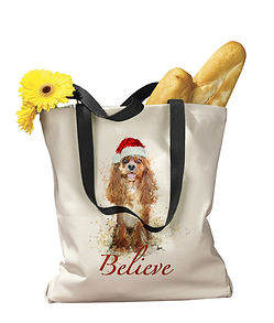 Cavalier and other dog breed tote bag