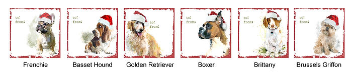 Frenchie, Basset Hound, Golden Retriever, Boxer, Brittany and Brussels Griffon holiday gift tags