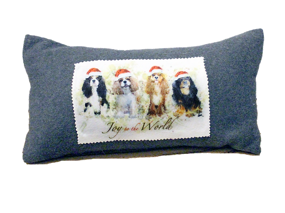Tri, Blenheim, Ruby and Black & Tan Cavalier fleece 8x16 pillow