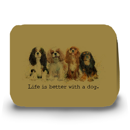 """Life is better with a dog"" Cavalier greeting card"