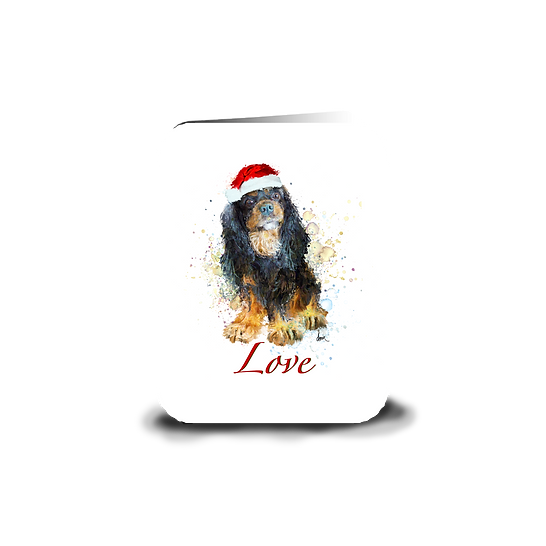 "Black & Tan Cavalier ""Love"" holiday greeting card"