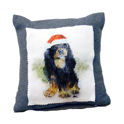 Black & Tan Cavalier fleece 12x12 pillow