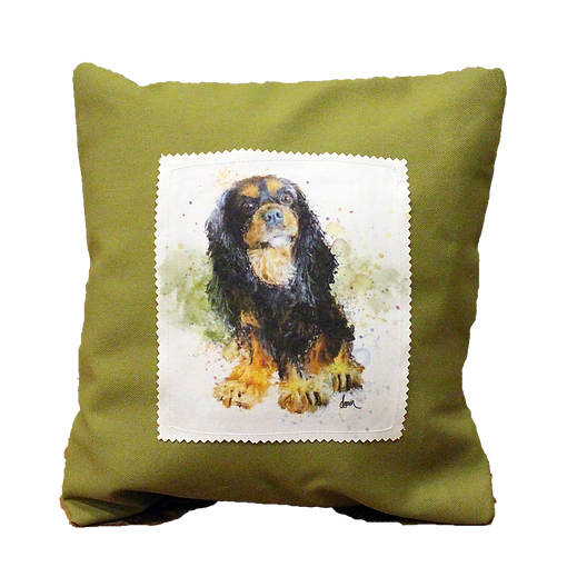 Black and Tan Cavalier canvas 12x12 pillow