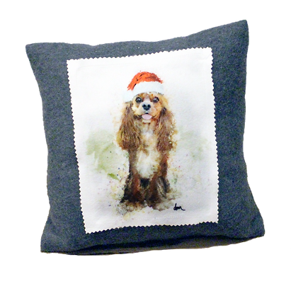 Ruby Cavalier fleece 12x12 pillow