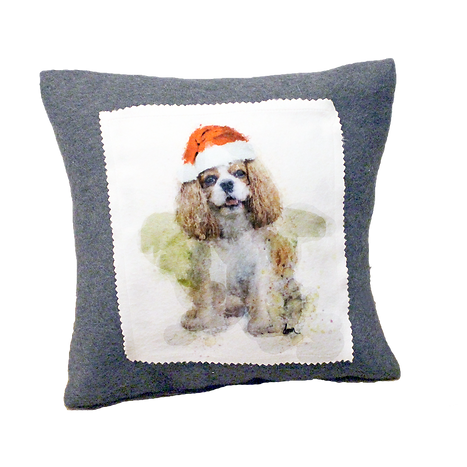 Blenheim Cavalier fleece 12x12 pillow