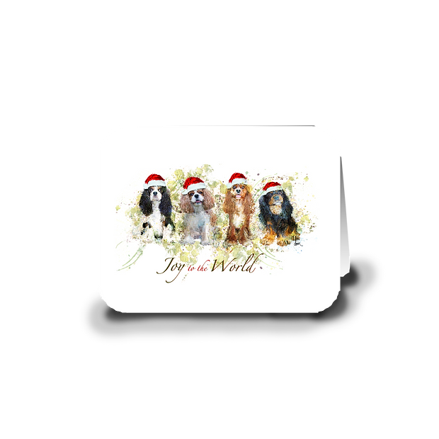 "Cavalier ""Joy to the World"" holiday greeting card"