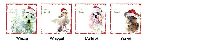 Westie, Whippet, Maltese and Yorkie holiday gift tags