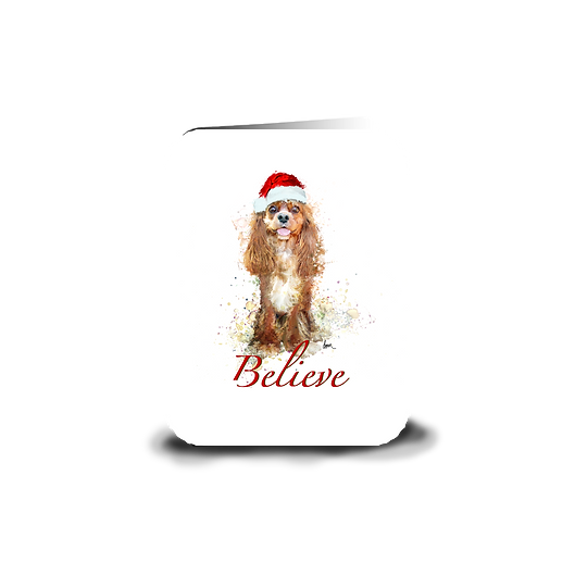 "Ruby Cavalier ""Believe"" holiday greeting card"