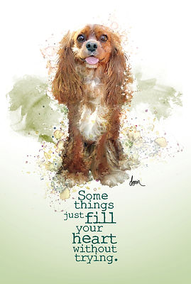 """""""Fill your heart"""" Ruby Cavalier postcard"""