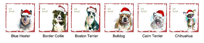 Blue Heeler, Border Collie, Boston Terrier, Bulldog, Cairn Terrier and Chihuahua holiday gift tags