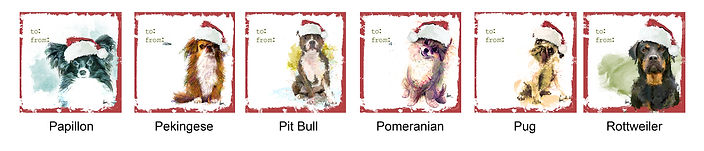 Papillon, Pekingese, Pit Bull, Pomeranian, Pug and Rottweiler holiday gift tags