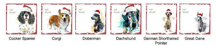 Cocker Spaniel, Corgi, Doberman, Dachshund, GSP and Great Dane holiday gift tags