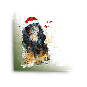 Black & Tan Cavalier Holiday Gift Tag