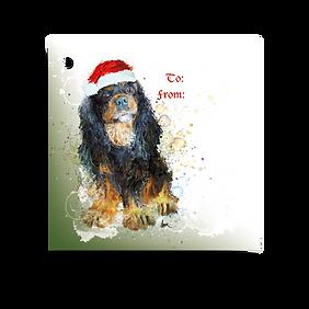 Black & Tan Cavalier Holiday Gift Tag