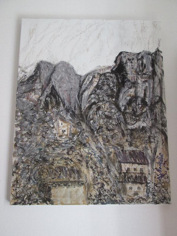 peinture ASFratello village dans les gorges du Verdon