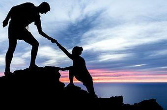 Couple hiking help teamwork and trust si