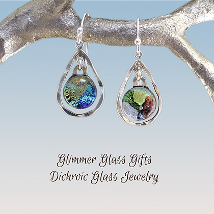 Hammered Sterling Silver and Dichroic Glass Earrings wholesale