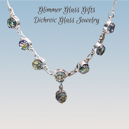 Dichroic Glass 8 Piece Drop Sterling Silver Necklace