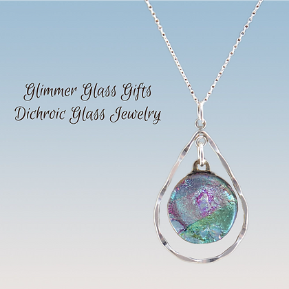 Hammered Sterling Silver and Dichroic Glass Pendant wholesale