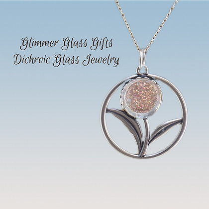 Dichroic Glass Flower Sterling Silver Necklace