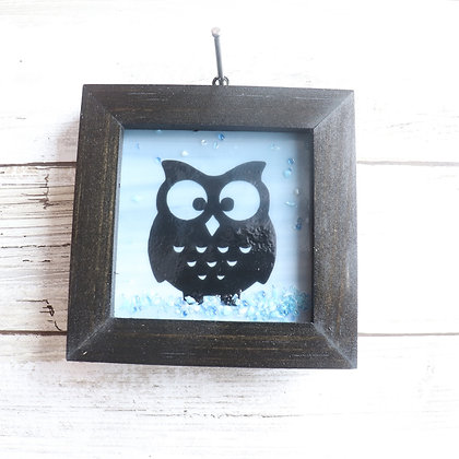 Fused Glass Framed Window Hanging, Owl - Wholesale