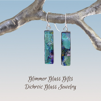 Dichroic Glass Long Rectangular Sterling Silver Earrings