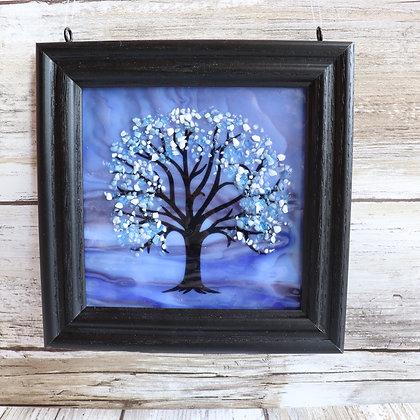 Fused Glass Tree Window Hanging, Blue/Purple Streaky Winter Tree
