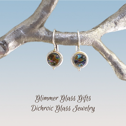 Dichroic Glass Small Circle Sterling Silver Earrings