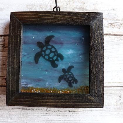 Fused Glass Sun catcher, Turtles, Window Hanging
