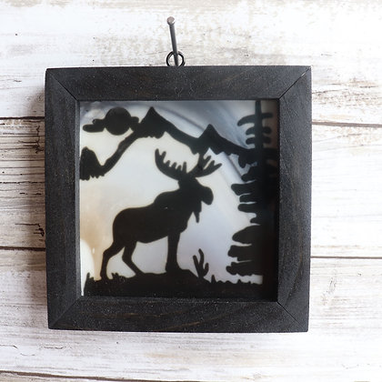 Fused Glass Sun Catcher, Moose, Window Hanging