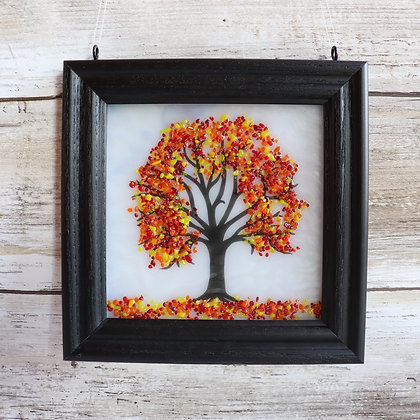 Fused Glass Tree Window Hanging, White with Autumn Colors