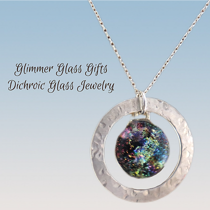 Dichroic Glass in a Hammered Sterling Silver Washer Necklace