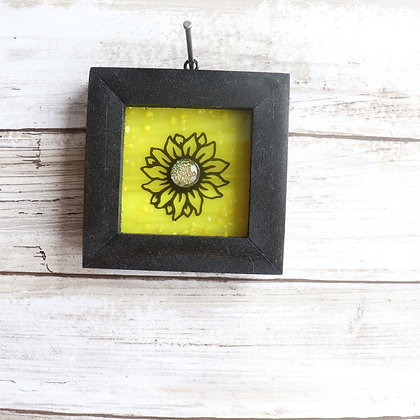 Fused Glass Framed Window Hanging, Sunflower - Wholesale