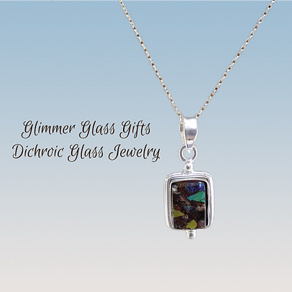 Dichroic Glass Rectangular Sterling Silver Necklace