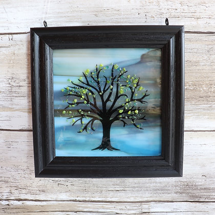 Fused Glass Tree Window Hanging, Blue/Brown Landscape with S