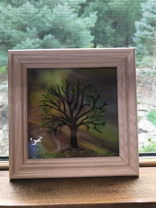 """Fused Glass Trees in a 4"""" x 4"""" White Frame - Wholesale"""