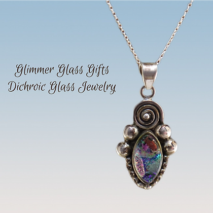 Dichroic Glass Marquis Sterling Silver Necklace