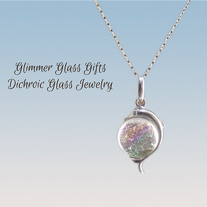 Dichroic Glass Dolphin Sterling Silver Necklace