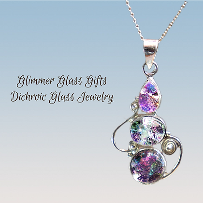 3 Piece Dichroic Glass and Sterling Silver Pendant