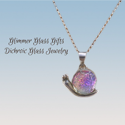 Dichroic Glass Snail Sterling Silver Necklace