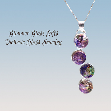 4 Piece Dichroic Glass and Sterling Silver Pendant