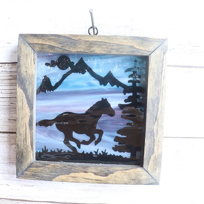Fused Glass Sun Catcher, Horse Window hanging