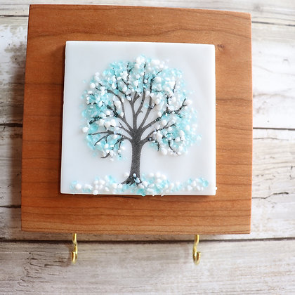 Fused Glass Tree, Wood Wall Art, Key Holder