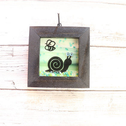 Fused Glass Framed Window Hanging, Snail - Wholesale