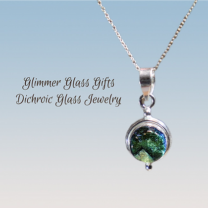 Small Dichroic Glass Circle Sterling Silver Pendant